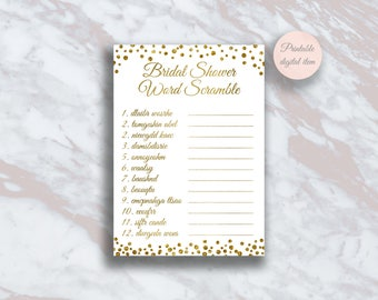 Bridal Shower Word Scramble, Funny Bridal shower games, Word Scramble Game, Gold confetti, Wedding shower ideas, Fun shower activity s4br