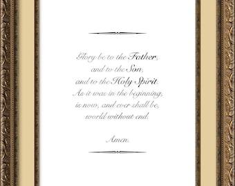 Glory Be, Christian Prayer Print, Religious Wall Art, Catholic Print, Family Print, Inspiration Print