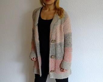 hand knit cardigan, cotton cardigan, long cardigan, knit sweater, handmade sweater, soft cardigan, sweater cardigan, ready to ship