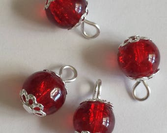 5 pendants 8mm red Crackle glass beads