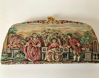 Vintage Baronet Wallet Made in USA 1960's - Victorian Tapestry Style Wallet
