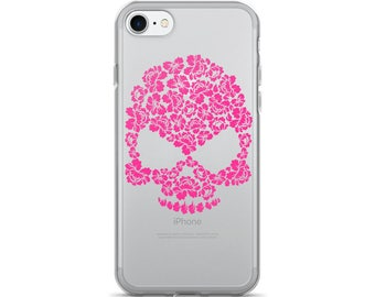 Pink Hibiscus Floral Skull iPhone 7/7 Plus Case