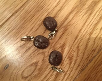 Polymer clay realsitic coffee bean charm