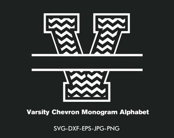 Split varsity Monogram Svg, split chevron varsity Font Svg Interlocking Monogram Alphabet,EPS png jpg svg dxf for Silhouette Cameo or Cricut
