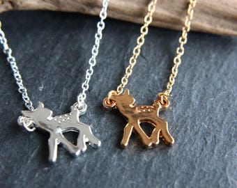 Deer Bambi Necklace Gold or silver necklace