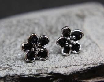Flower Flower stud Earrings 925 silver Earrings star Black enamelled