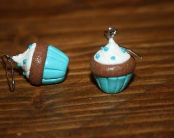 Boucles d'oreille pâte fimo cupcake