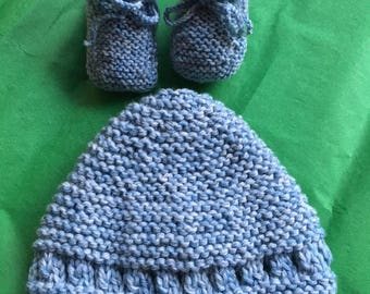 Hat and blue slippers