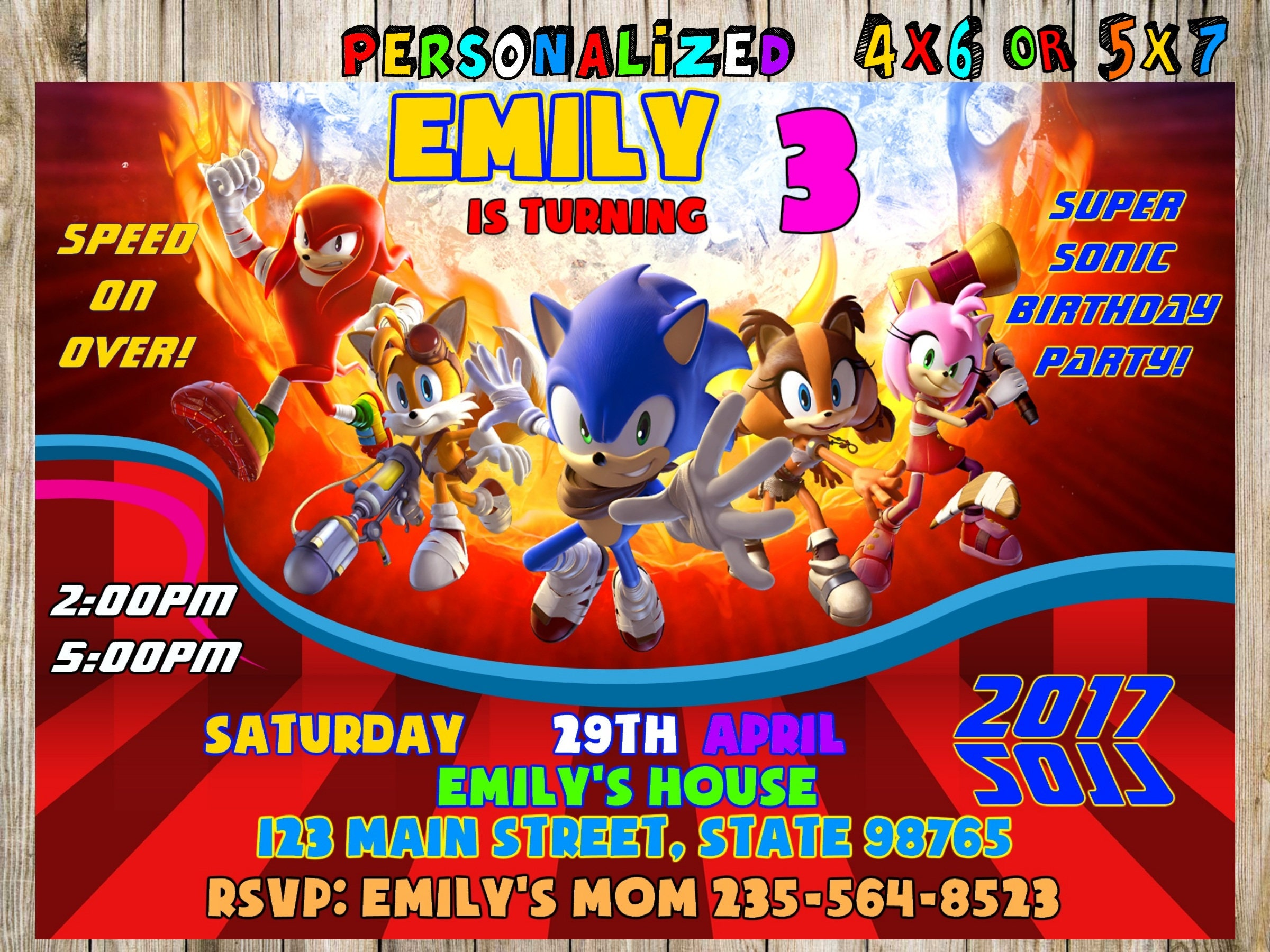 Sonic Invitation Sonic Personalized Sonic Birthday Invitation