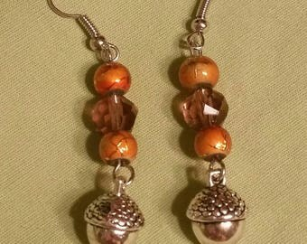 Silver Toned Acorn Charm Orange Brown Dangle Earrings