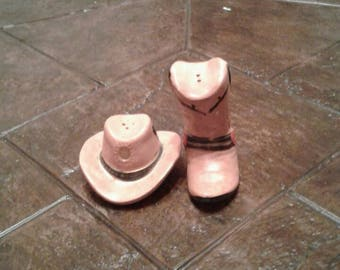 Cowboy hat and boot salt and pepper shakers