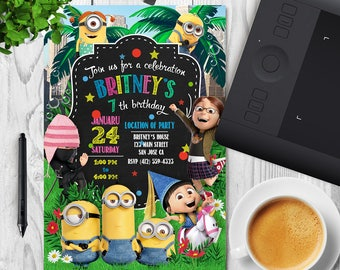 Minion Invitation, Minion Party, Minion Birthday Invitation, Minion Birthday Party, Boy Girl Minion Invitation - Digital, Printable