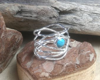 Sterling Silver Turquoise Elfin Ring Handmade Hammered Wire Gemstone