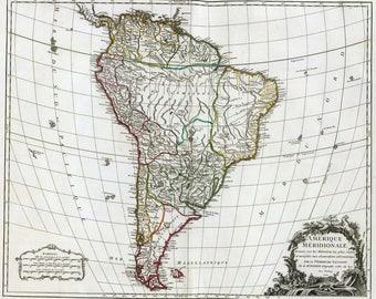 Anceint map of South America, 1750,antique map,art deco,vintage decor