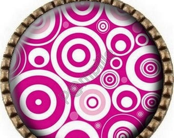 Bronze pendant Cabochon - circles in pink (918)