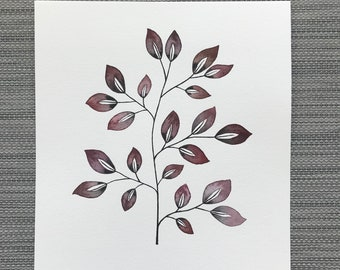 Precision - Original Watercolor Painting, Leaf Art, Nature Wall Decor, Minimalistic Home Style