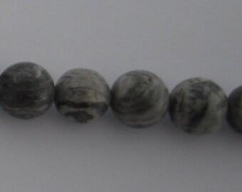 3 diameter 12mm gray Jasper beads