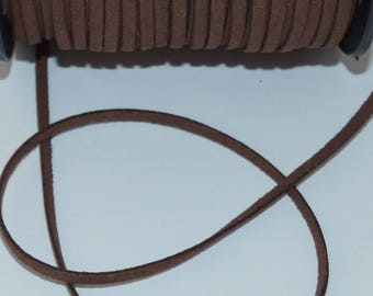 Brown width 4mm thickness 1.5 mm suede cord 3 m