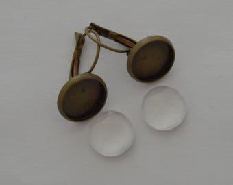 4 pieces: 2 brackets BO bronze antique 2 cabochons 12mm