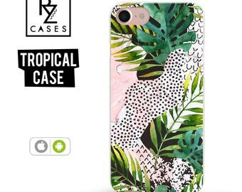 Tropical phone case, Marble Phone Case, Tropical iPhone 7 Case, Palm Leaves, Tropical iPhone 6, iPhone 7 Plus, iPhone 6 plus, Samsung Galaxy