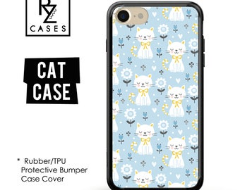 Cat Phone Case, Cute Cat Phone Case, Floral Phone Case, iPhone 7, Animal, Cat Lover, Gift for Her, iPhone 7 Plus, iPhone 6S, Rubber, Bumper