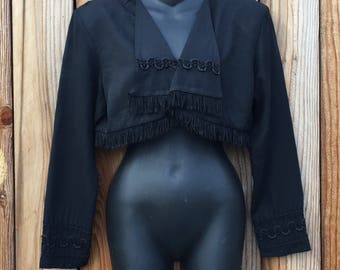 90s Contempo Casual Black Shrug Jacket
