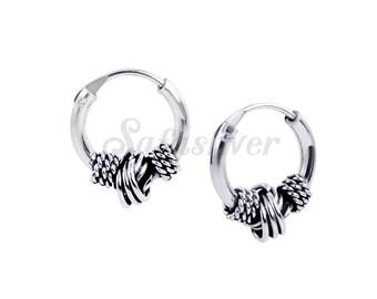 Sterling Silver Bali Hoops Earrings,Oxidised Bali Hoops Earrings,Silver Hoops Earrings,Silver Bali Hoops Earrings