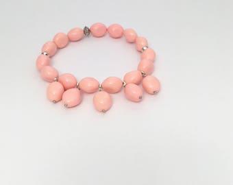 Pink Coral bracelet. Chanel bracelet. Silver bracelet. Custom bracelet. Pink bracelet. Gift woman.