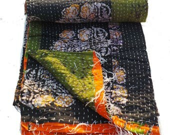 Vintage Reversible Kantha Quilt Old Cotton Kantha Quilt Handmade Blanket cotton Reversible Kantha Quilt