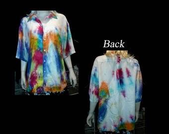 Vintage Hand Tie-Dyed Perry Ellis Short Sleeve Silk Dress Shirt - Size XL