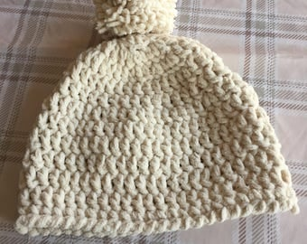 Chunky crochet bobble/ski hat ladies