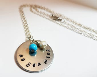 Princess Bride Jewelry As You Wish Buttercup Hand Stamped Metal Necklace