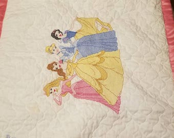 Cross stitched baby or child blanket