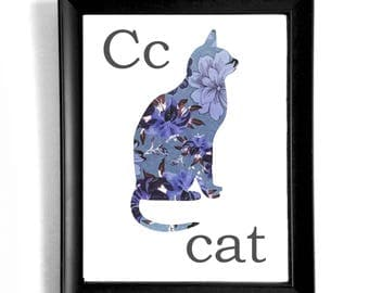 Floral Alphabet Cat