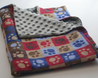 Paw Print Flannel Print Minky Backed Blanket and Flannel Bib Set