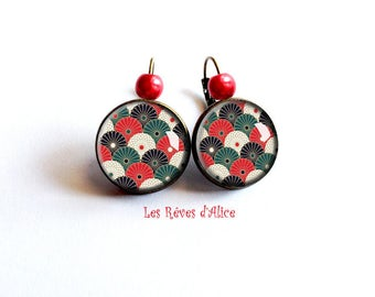 Earrings * fans of Japan * pattern small papers Asian Red, green, white