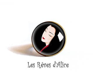 ring * geisha smile * a black background, stylized, red face, carnation, bronze