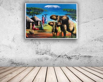 African-Elephant-Painting-Modern-Wall-Art-Decor-Framed-Artwork-Wildlife-Artwork