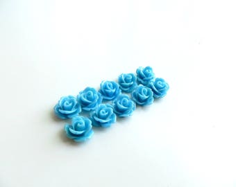 10 cabochons resin 10mm blue flower