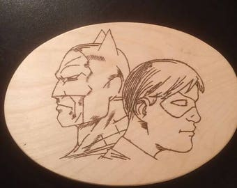Batman and Robin wood burned sign