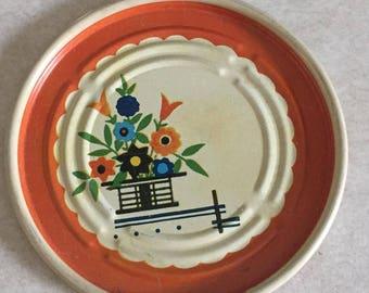 Vintage kitchy metal coasters with floral design, set of 8