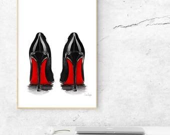 Louboutin heels illustration poster printable download