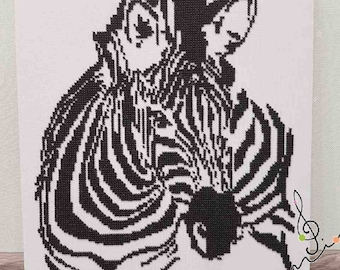 Picture embroidered with beads-zebra