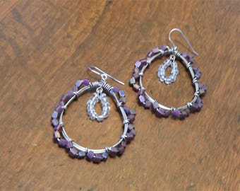 Intricate purple large wire-wrapped teardrop hoops