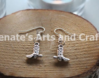 Cowgirl cowboy boot earrings