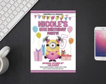 Minion Invitation, Minion Birthday, Minion Invites, Minion Party Printables, Minion Custom