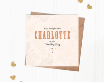 Personalised Sister on Your Wedding Day Greeting Card