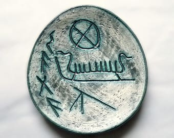 AROL Norway Pottery Decorative Plate Pagan Viking Runes Ceramic Vintage 1960's
