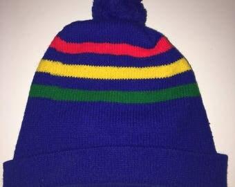 Vintage 70's Striped Pom Hat