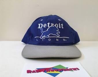 Vintage Detroit Lions NFL Blue/Gray Big Logo Eastport Snapback Hat